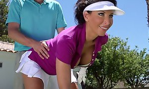 Sexy dark haired MILF Lezley Zen gives a head to her boy outdoors AnySex