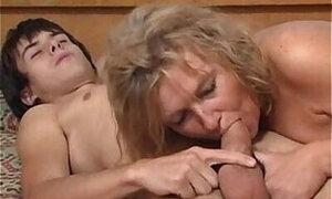 Granny blows a boy in a kinky porno movie