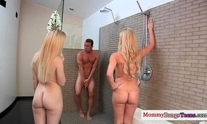 Cumswap threesome fun with stepmom and teen xVideos