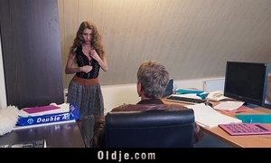 Sexy young secretary blackmails her old boss for dirty fuck facial xVideos