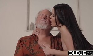 Teen Interrupts Grandpa from Yoga And Sucks his Cock wet and hard xVideos