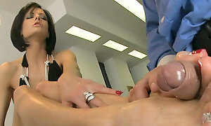 Perverted dude eats cake from hot ladys feet and gets a nice footjob