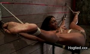 Ebony body builder tied up and vibed xVideos
