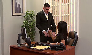 A high-class secretary always helps her boss to remove stress