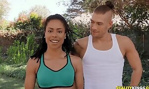 Tired dude thanks his hot yoga couch with outdoor fuck