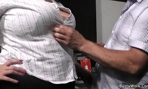 Plumper in fishnets rides her older boss cock xVideos