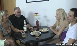 Her pussy gets licked and fucked by her BF's parents xVideos