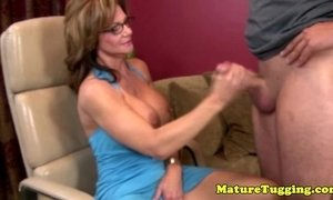 Bigtits mature with spex tugging cock xVideos