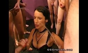 Group pissing on sexy brunette xVideos
