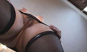 Busty mature blonde strips and masturbates like a slut