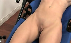 Brunette with huge tits shoves her fingers in her cunt