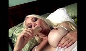 Blonde babe gets horny grandma in teasing solo