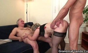 Cock-hungry granny enjoys two dicks xVideos
