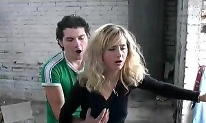 Curly blonde licks the cock and fucks in the street