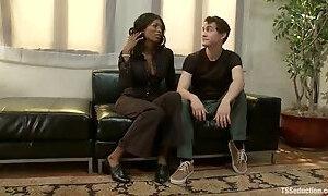 CJ enjoys hot rear banging with ebony ladyboy Natassia Dream