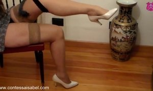 Mesmerizing leg tease in grey minidress AnalDin