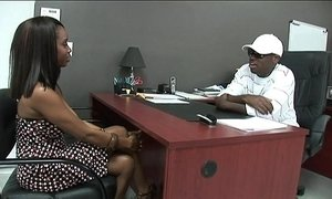 Black stud gets to fuck a hot Ebony Girl in his Office.xxblacks.com
