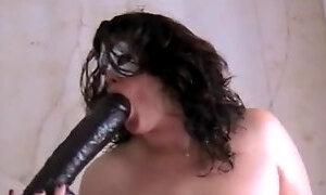 BBW amateur with huge black dildo