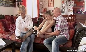He finds his GF riding his dad's cock xVideos