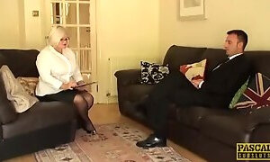 Alluring breasty mature lady featuring hot sex action ending with cumshot