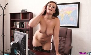 Big tittied book keeper Charlie Rose strips in the office AnySex