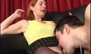 Half naked mature lady gets asshole stretched to the limit