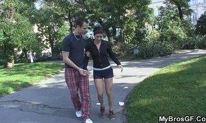 Slutty girl gets banged by her BF' bro