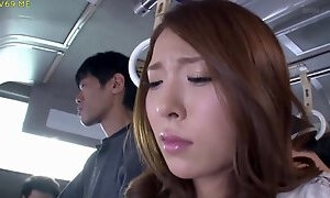 Slutty Asian cutie gets groped in the bus by some kinky dudes