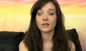Brunette Babe Gags On Big Hard Throbbing Cock