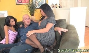 Bigtitted milf cockriding in threeway xVideos