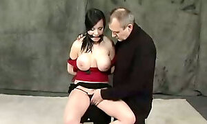 Seductive sex-slave in red dress has very big appetizing boobs and cherry looking clit