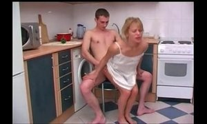Russian mother with her son. Sex in the kitchen. xVideos