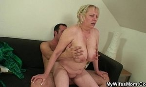 She finds her old mom sitting on her BF's dick xVideos