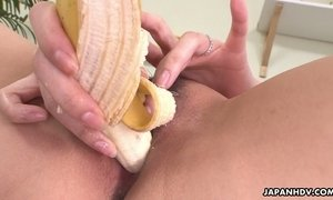 Spoiled Asian wife Nami Aoyama thrusts banana in her wet and whorish pussy AnySex