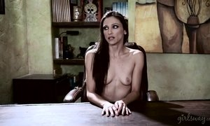 Lesbian Elle Alexandra sits on Celeste Star cute face and fingers her pussy