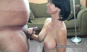 Mature slut Melissa Swallows is blowing a stranger