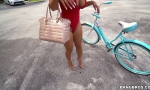 Oversexed big tittied milf Nina Kayy is riding her bicycle and a hard pole AnySex