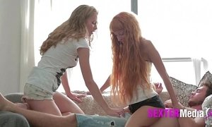 Flawless young skinny teen cunts in threesome fucking hard long cock till facial xVideos