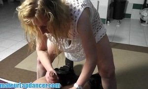 Nasty MILF gets facial after lapdance