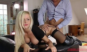 British blonde dresses up like a tart in boots to get laid