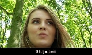 Lonely Grandpa fucks a young girl in the forest xVideos